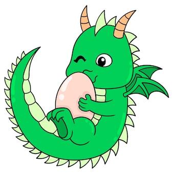 Dinosaurier warten glücklich auf die geburt ihrer eier, vektorgrafiken. doodle symbolbild kawaii.