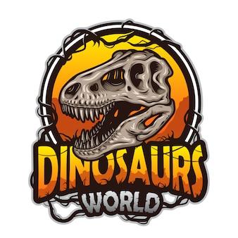 Dinosaurier-weltemblem mit tyrannosaurierschädel. farbig isoliert auf weißem hintergrund