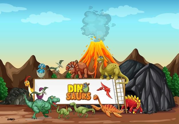 Dinosaurier-zeichentrickfigur in der naturszene