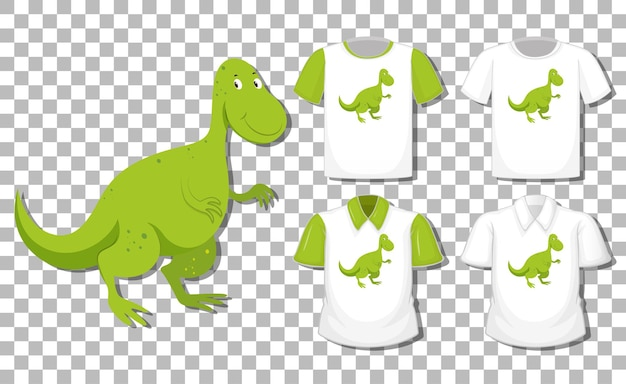 Dinosaurier-zeichentrickfigur mit satz verschiedene hemden lokalisiert