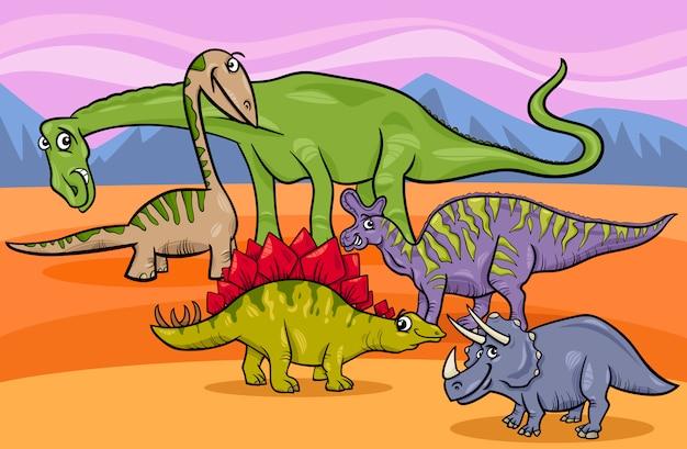 Dinosauriergruppe-karikaturillustration