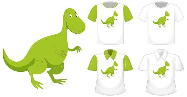Dinosaurierkarikaturcharakterlogo auf verschiedenem weißem hemd mit grünen kurzen ärmeln lokalisiert auf weißem hintergrund