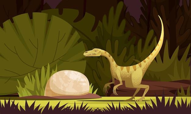 Dinosaurierkarikaturillustration mit altem kleinem raubtier des eodromäus aus argentinien flache illustration