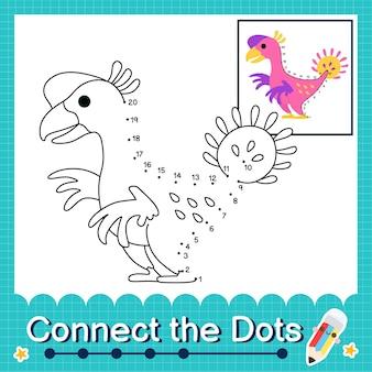 Dinosaurierkinder verbinden das punktarbeitsblatt für kinder, die die nummern 1 bis 20 zählen. the nomingia