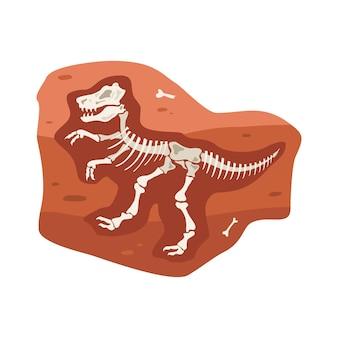 Dinosaurierskelettknochen von ausgestorbenen tieren unter der erde in flach