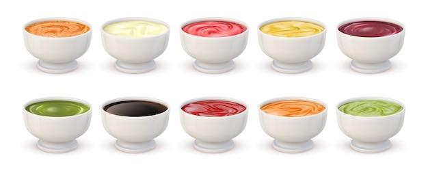 Dip-saucen-draufsicht. schalen mit mayonnaise, tomatenketchup, senf, pesto, curry und guacamole. realistisches würziges gewürzsaucen-vektorset