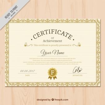 Diplom der anerkennung golden classic