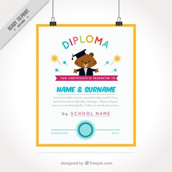 Diplom für kinder mit biber