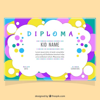 Diplom für kinder mit bunten kreisen