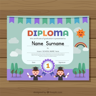 Diplom für kinder mit lila details