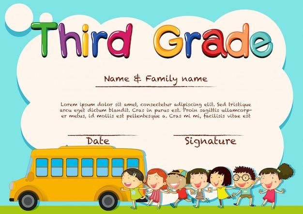 Diplom für schüler der dritten klasse