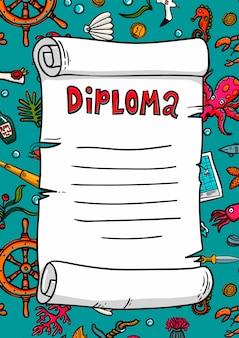 Diplom im seestil. vorlage. scrollen sie in einem handgezeichneten stil. marine-thema.