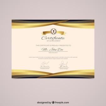 Diplom mit goldenen formen