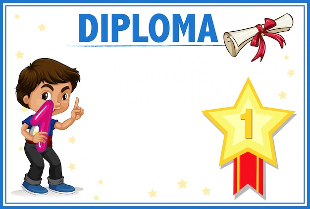 Diplom mit jungenkonzept