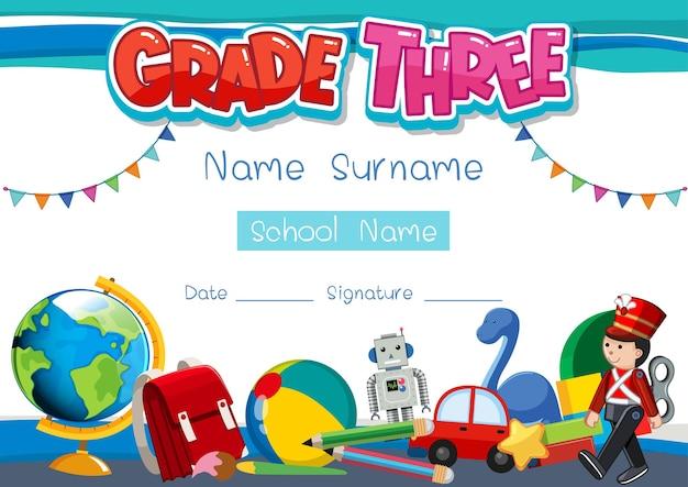 Diplom- oder zertifikatsvorlage der dritten klasse