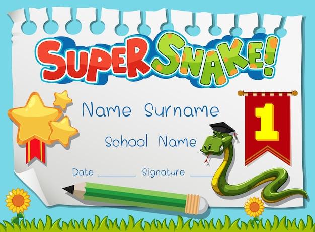 Diplom- oder zertifikatsvorlage für schulkinder mit superschlangen-cartoon-figur
