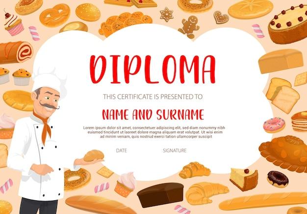 Diplom-vorlage für bäcker, bäckerei oder konditorei