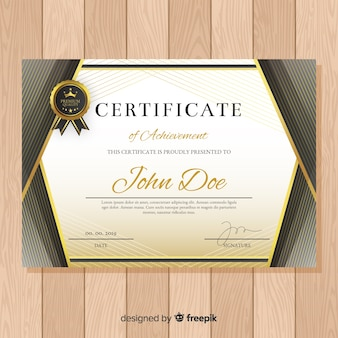Diplom-vorlage mit goldenen elementen