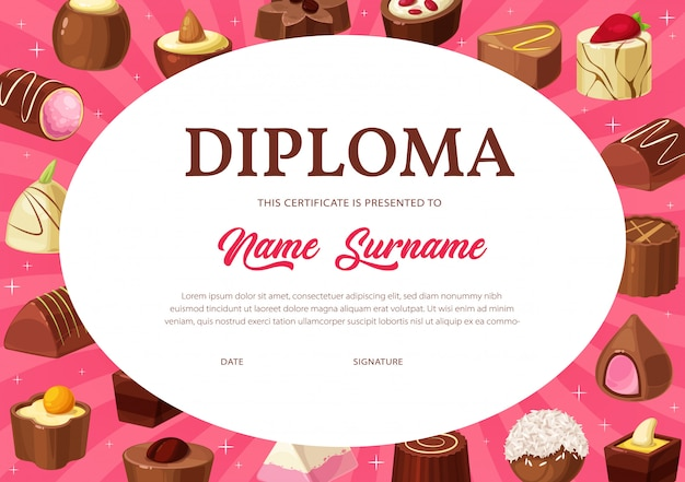 Diplom-zertifikat der kinderbildungsvorlage