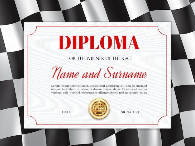 Diplom-zertifikat des rennsiegers mit hintergrundrahmen der rennflagge Premium Vektoren