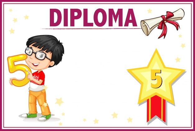 Diplom-zertifikat-vorlage für die fünfte klasse