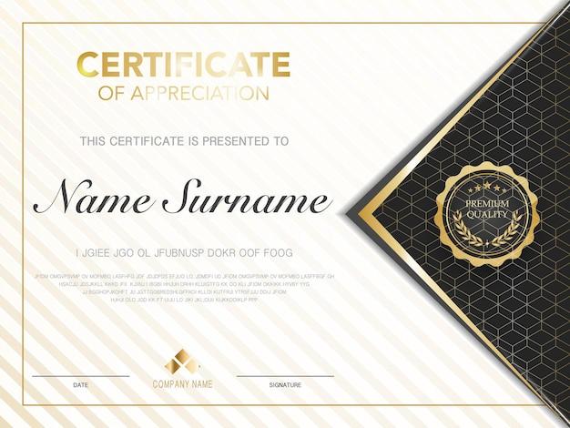 Diplom-zertifikatsvorlage schwarz-goldene farbe mit luxuriösem und modernem vektorbild