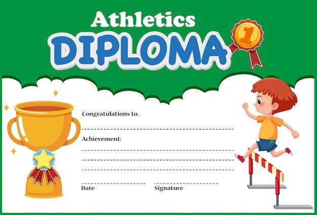 Diplom-zertifikatvorlage für leichtathletik