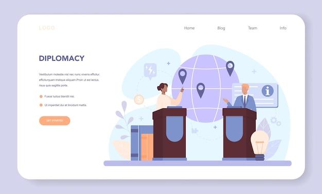 Diplomat-webbanner oder landingpage. idee der internationalen beziehungen