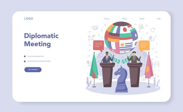 Diplomat-webbanner oder landingpage-idee der internationalen deplomatik