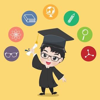 Diplomierter junge.