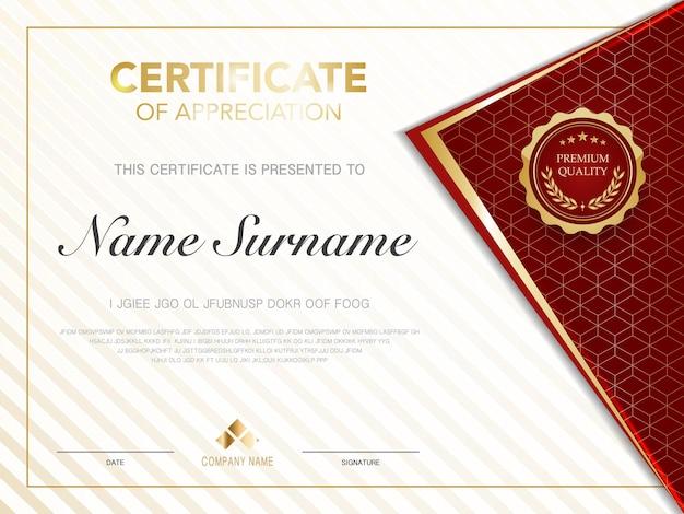 Diplomzertifikatvorlage rot und gold mit luxuriösem und modernem vektorbild