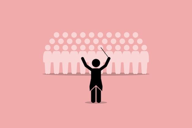 Dirigent, der eine chorgruppe leitet. konzept der führung, ausbilder, meister und koordinator.