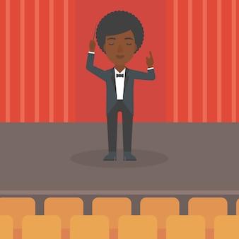 Dirigent regie mit taktstock.
