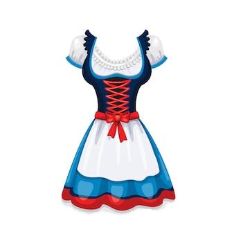 Dirndl. traditionelles weibliches oktoberfest-kostüm. vektorillustration im cartoon-stil.