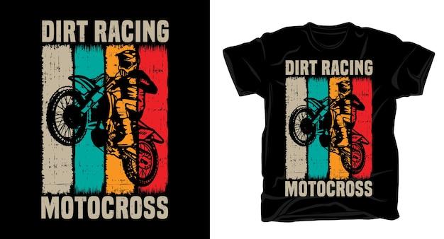 Dirt racing motocross typografie mit fahrer vintage t-shirt design