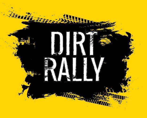 Dirt rally road track reifen gringe textur. motorrad- oder autorennen schmutziger radspur-wortaufdruck.
