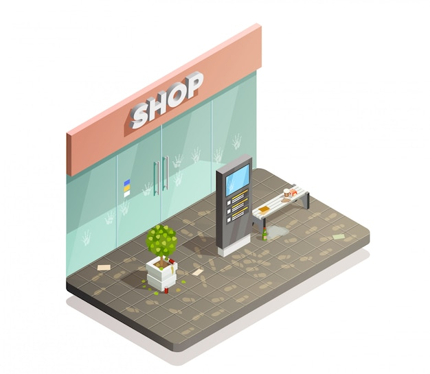 Dirty storefront isometric composition