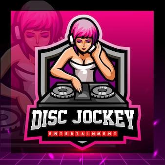 Disc jockey maskottchen esport logo design