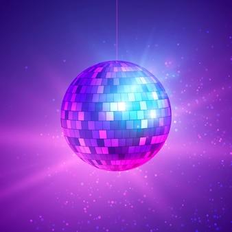 Disco ball mit hellen strahlen