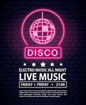 Disco elektro musik einladung plakat neonlichter farben