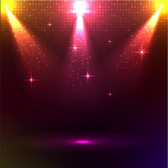 Disco-lichter auf glänzendem backgound.
