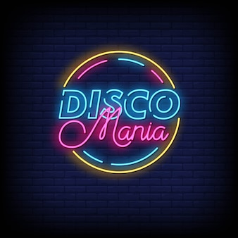 Disco mania neon signs style text