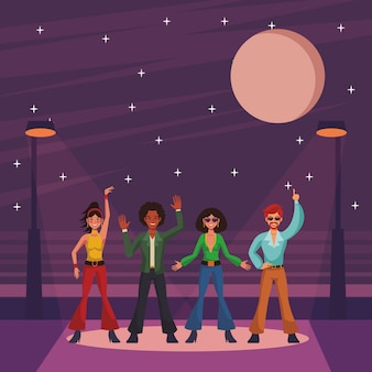 Disco menschen cartoon