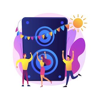 Disco party. leute, die im club tanzen und spaß haben. nachtclub, nachtleben, diskothek, clubbing. weibliche dj-zeichentrickfigur. musik konzert.