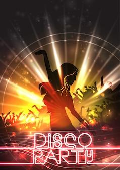 Disco-party mit mädchen poster design
