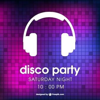 Disco party poster mit kopfhörern