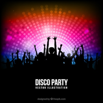 Disco party poster mit silhouetten