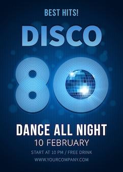 Disco party poster mit spiegelkugel. beste hits der 80er. musik und club, poster und nachtclub. vektorillustration