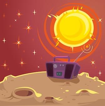 Disco planet. cartoon-illustration