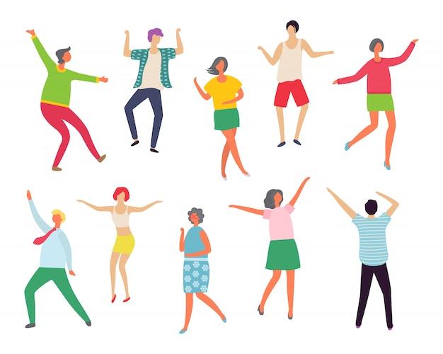 Disco-tänzer mann und frau, paare auf party
